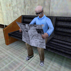 Scientist reading <i>The Mesa Times</i> on a Transit System platform in Sector C.