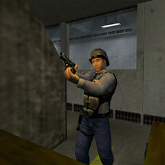 Security guard practicing in the shooting range (here with a Beretta).