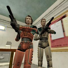 Gina and Colette armed with shotguns in an early <i>Decay</i> screenshot.