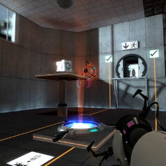 Early Test Chamber 13 screenshot, with the ASHPD using purple portals instead of orange, and the <i>Half-Life 2</i> HUD.