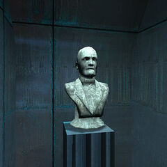 Bust of Breen in the corridor between his office and the elevator shaft.