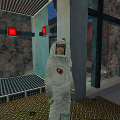 Clean suit scientist rescued by Adrian Shephard.