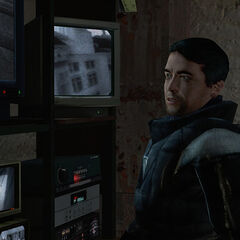Barney watching monitors in Kleiner's Lab, one of which including a Metrocop.