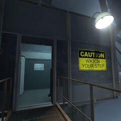 The entrance to the Test Subject Waiting Area building.