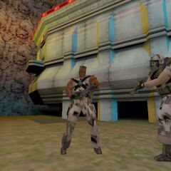 Closeup of the Human Sergeant and his Minigun in-game.
