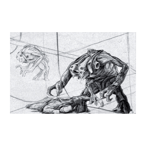 Concept art of an Alien Slave eating a scientist and using its central arm.