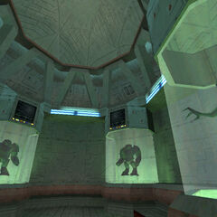 Alien Grunts in tanks in an early <i>Half-Life</i> build.