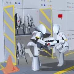 Concept art of robots storing Sentry Turrets.