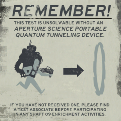 Old poster showing the early and huge Aperture Science Portable Quantum Tunneling Device.
