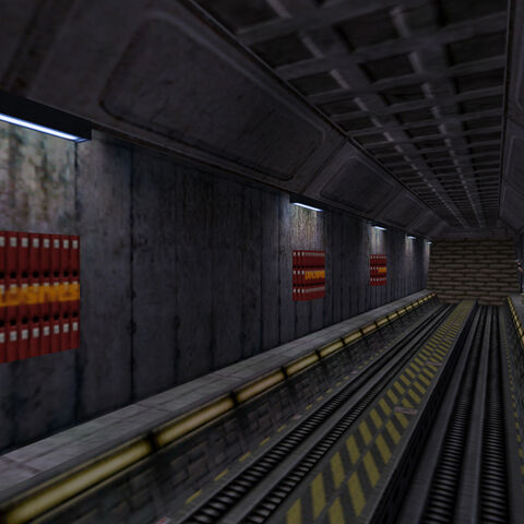 Dynamite being set up along tracks in the Black Mesa Transit System.