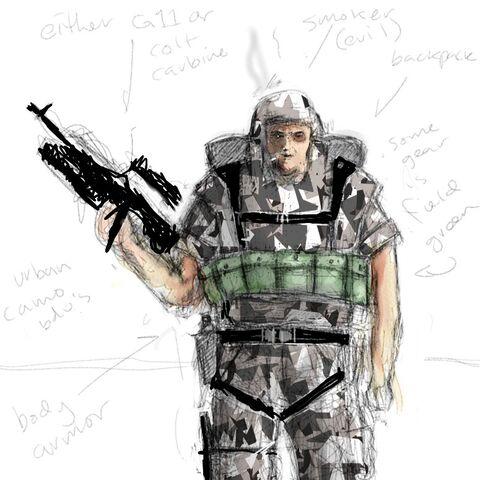 Infantry grunt concept art.