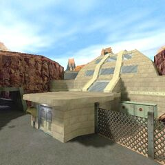 The main building in an early <i>Half-Life</i> build.