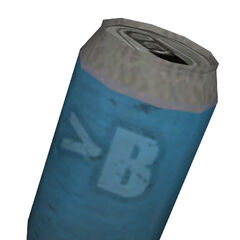 Blue soda can.