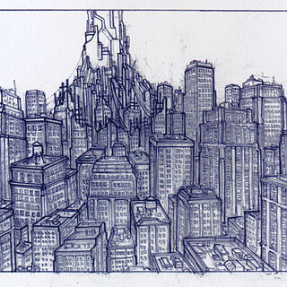 Concept art, among American skyscrapers.
