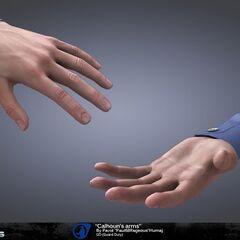 Concept Art of Barney Calhoun's hands.