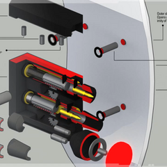 A diagram of the gun mechanisms.