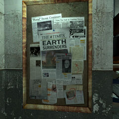 Newspaper clippings on a cork board in Eli's lab, featuring an article revealing that Breen has been declared Interim Administrator.