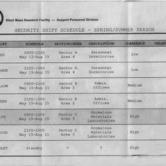 The Security Shift Schedule, including Barney's Blue Shift in Sector C.