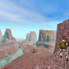 View of the canyon from the cliff where a HECU soldier is waiting for Freeman.