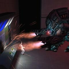 The Gargantua killing a scientist at the end of <i>Uplink</i>.