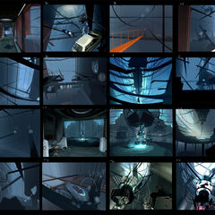 Concept art of a journey around her damaged chamber, based on <i>Portal</i> screenshots, first shown by Game Informer, then in the