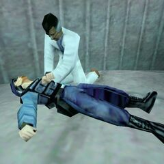 Scientist attempting to revive a security guard, third version.