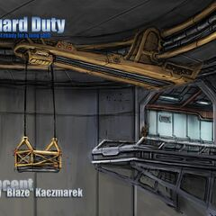 The Concept Art of lifter inside the facility.