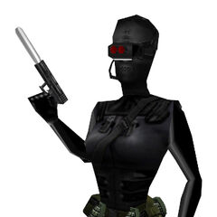 The female Black Op and her suppressed Glock.