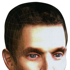 Final result: Gordon Freeman model's head. It is used as the basis of several concept art images such as that of the <i>Half-Life 2</i> original cover.