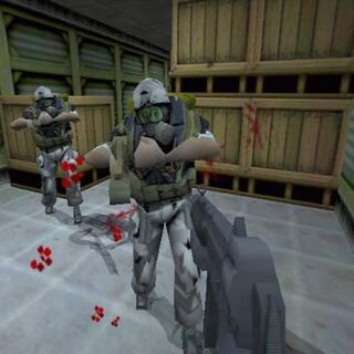 Early HECU grunts with M4s and player, with an early viewmodel.