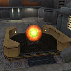 Rosenberg about to teleport out of Black Mesa through a portal.