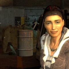 Alyx smiling at Gordon.