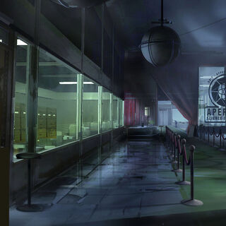 Concept art for the 1950s Lobby, with an Aperture Science Innovators logo on the glass, not present there in the final game.