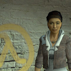 Alyx standing beside the Lambda symbol outside Kleiner's lab.