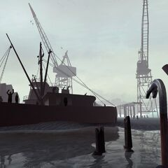 One of the first pre-release screenshots of <i>Half-Life 2</i>, in the map
