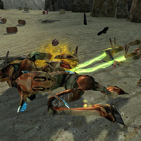 A Vortigaunt retrieving Bugbait from an Antlion Guard near the Vortigaunt Camp, by shooting it with lightning.