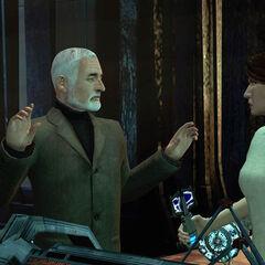 Mossman threatening Breen with Alyx's EMP Tool.