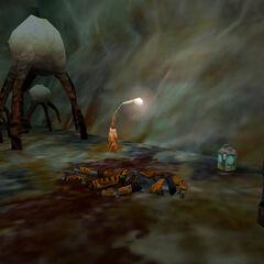 Dead survey team member next to Light Stalk on Xen.