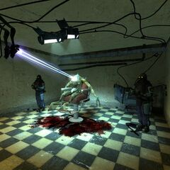 An image of a Vortigaunt being killed in a torture room.