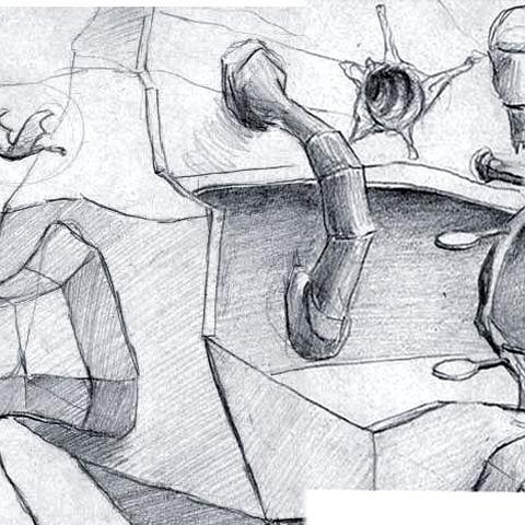 Concept art for Xen, showing a Gargantua at the end.
