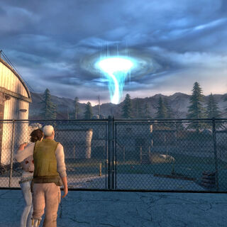 Eli and Alyx watching as the Superportal is about to be shut off.