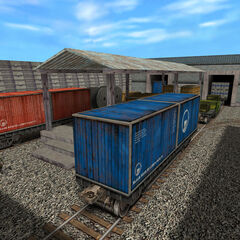 Freight cars in Black Mesa's Freight Yard.
