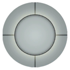 The sprite used for the Cores of the back at the end of <i>Portal</i>. The complete texture file is a square, with the Core in the middle.