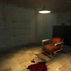 Interrogation chair in an interrogation room.