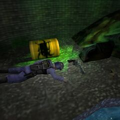 Dead security guard under Silo D, with a Colt Python at his side.
