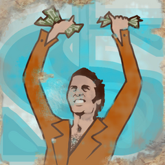 Happy Test Subject clutching dollars in his hands.