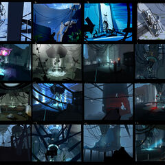 Concept art of GLaDOS' damaged chamber, based on <i>Portal</i> screenshots, revealed during the <i>PotatoFoolsDay</i> ARG.