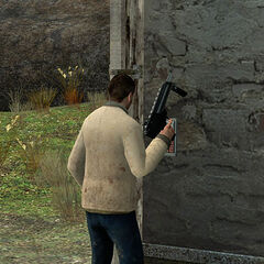 Rebel opening N.L.O.'s gate for Freeman while holding his MP7.