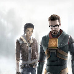 Concept art of Gordon and Alyx and their basic weapons, notably Alyx wielding the cut socket wrench.