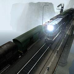 Razor Train passing on the Bridge Point bridge.